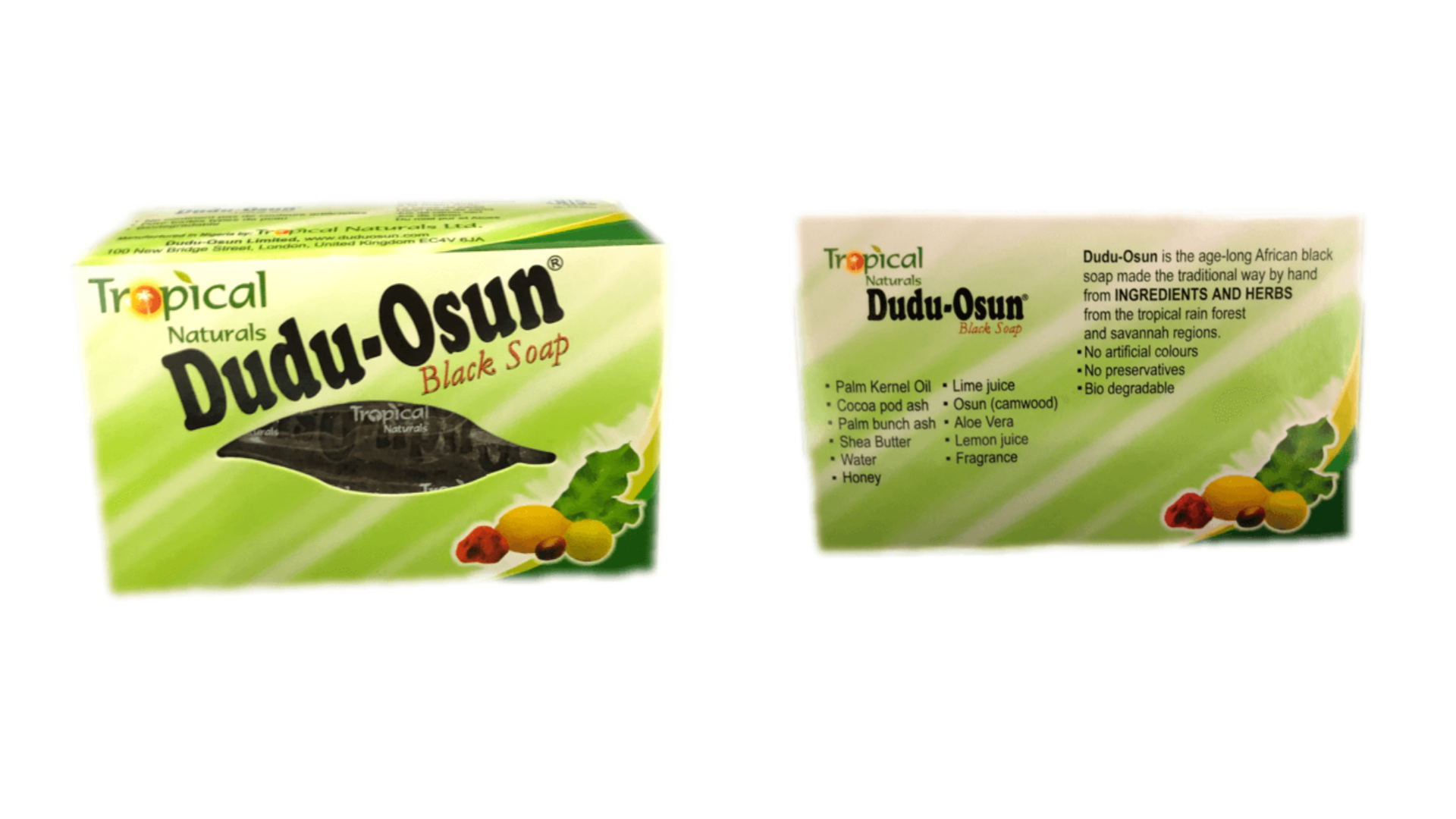A picture of Dudu Osun African Black Soap, a skincare product designed to cleanse the skin