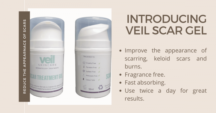 This is an image of Veil Scar Gel, a product designed to improve the appearance of scarring.