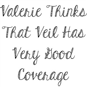 Valerie Thinks That Veil Has Very Good Coverage