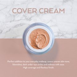 This is an image of Veil Cover Cream, a full coverage concealer that can conceal strawberry birthmarks, port wine stain birthmarks, vitiligo, acne, redness, rosacea, scars, scarring, keloid scars, bruising, melasma, xanthelasma, varicose veins, thread veins, stretch marks, tattoos and various other skin conditions.