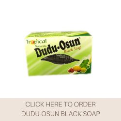 This is a picture of Dudu-Osun Black Soap, a popular product that has been used by many for it's natural and effective properties.
