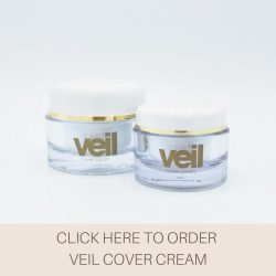 This is an image of Veil Cover Cream, a full coverage concealer that can cover up a range o skin conditions including birthmarks, acne, rosacea, vitiligo, moles, scars and even tattoos.