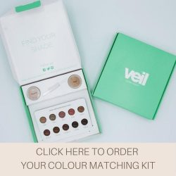 This is a photograph of a Veil Colour Matching Kit, a product designed to help you find your perfect shade of full coverage concealer.