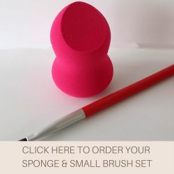 This is an image of the Veil Sponge and Small Brush set, this set contains a latex-free sponge and a small brush that is ideal for precise and accurate application of Veil Cover Cream and other makeup products.