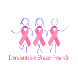 This is an image of the Derwentside Breast Friends logo featuring three pink breast cancer ribbons.