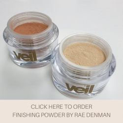 This is an image of the Finishing Powder by Rae Denman, a finely milled product designed to increased the wear time of Veil Cover Cream. The product is available in two shades, Tuki and Heaven.