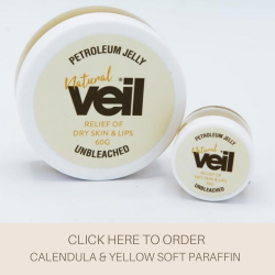 This is an image of the Veil Calendula & Yellow Soft Paraffin Petroleum Jelly for Dry Skin, a product designed to hydrate the skin, lock in moisture and soothe.
