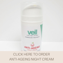 This is an image of the Veil Anti-Ageing Night Cream, a product designed to help fight fine lines, wrinkles and dryness.