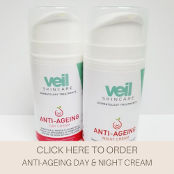 This is an image of the Veil Anti-Ageing Day and Night Cream, two products that are designed for day to day use to help fight the signs of ageing. When used on a consistent regular basis these products can help reduce the appearance of fine lines, wrinkles and skin dryness