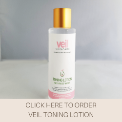 This is a photograph of the Veil Toning Lotion, a liquid skincare product designed to remove excess oil and makeup from the skin.