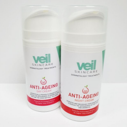 This is an image of the Veil Anti-Ageing Day and Night Creams, two products designed to improve the appearance of fine lines and wrinkles to boost self confidence.