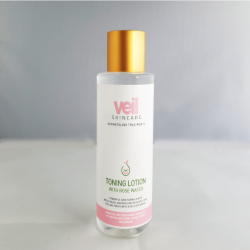 This is an image of Veil Toning Lotion, a liquid skincare product that can be used as part of your daily skincare routine to remove traces of excess oil and makeup