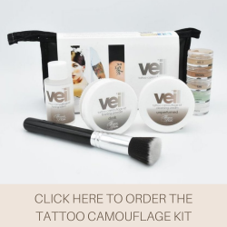 This is an image of the Veil Tattoo Camouflage Kit. This kit is designed to cover up and conceal tattoo with ease for a natural look with an undetectable finish.