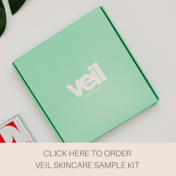 This is an image of the Veil Skincare Sample Kit, a product which features 6 sample size pots of Veil Skincare products so that you can try before you buy