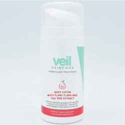 This is an image of the Veil Body Lotion which contains a powerful formula to keep the skin soft and hydrated
