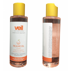 This is an image of Veil Rejuve-Oil. a pink coloured liquid that comes in a transparent bottle with a white and orange label upon it. The product is designed to treat scars, stretch marks and uneven skin tones whilst hydrating the skin and improving dry skin.