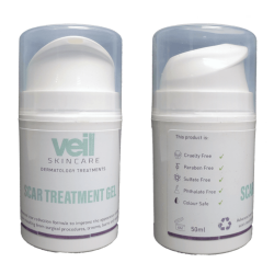 This is an image of Veil Scar Gel, a product designed to reduce the appearance of scarring, keloid scars and burns.